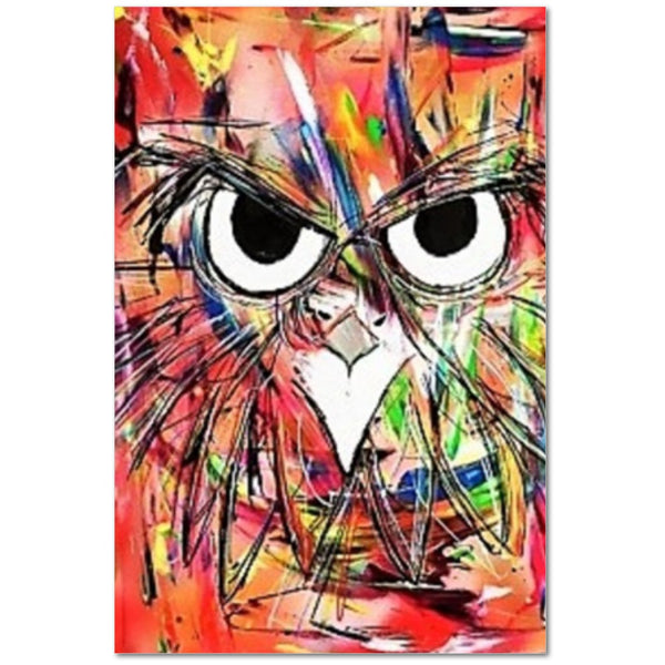 Clings Abstract Owl by David Strickland Art