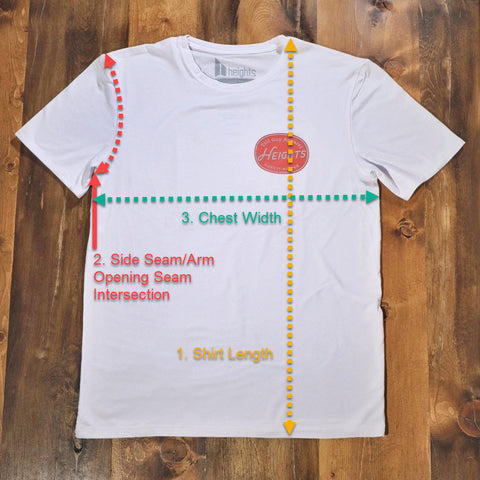 t-shirt diagram showing the different measurements taken into account