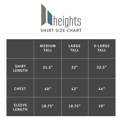 sizing chart to assist in finding the right size t-shirts for tall guys