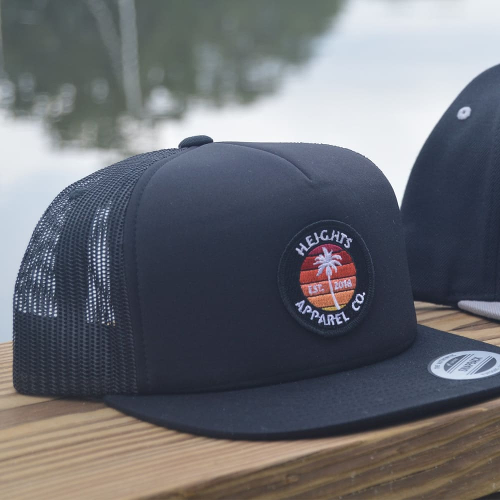 Palm Sunset - Premium Trucker Hat - heights-apparel-co