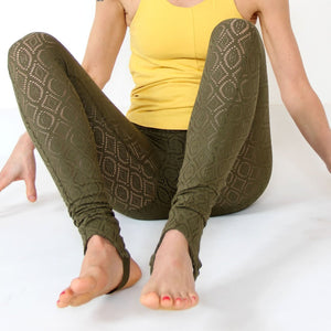 Daluis Lace Yoga Leggings - olive green in organic cotton