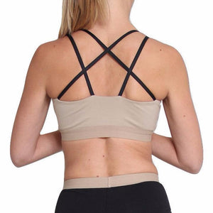 Lyon sports bra in Organic cotton, star outline straps - beige