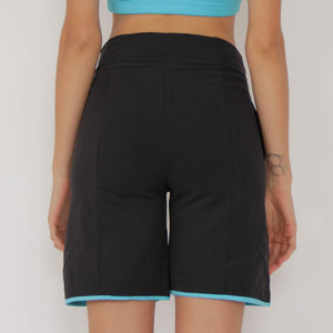 "Prancing Leopard Women's Long Yoga and Pilates ""MERV"" Organic Cotton Shorts, High Waisted Running Shorts"