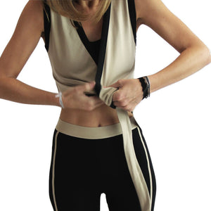 Moka cropped wrap yoga top in moisture-wicking Zeugma® cotton