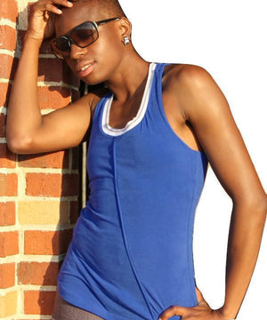 Omora yoga tank top in organic cotton from Prancing Leopard - blue