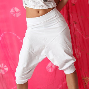Pasha Organic Cotton Harem Yoga Pants White by Prancing Leopard