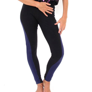 Prancing Leopard Organic cotton yoga, workout, Pilates Leggings - Black with Navy Stripe - front