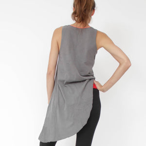 Arles grey Tank-top, Organic Cotton Side-tail shirt from Prancing Leopard -back