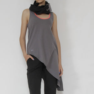 Arles grey Tank-top, Organic Cotton Side-tail shirt from Prancing Leopard - asymmetric