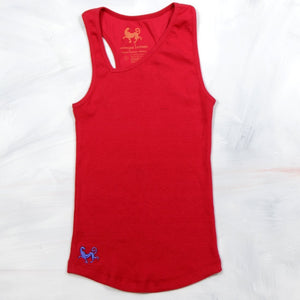 Prancing Leopard's COIBA Slanted-V-Neck, Fitted Yoga Tank-Top in Organic Cotton -Red