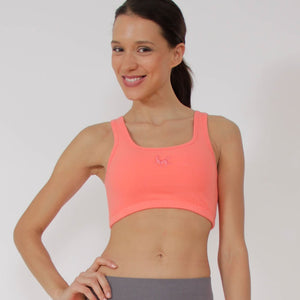 Figuera Organic Cotton Yoga Sports Bra Top in Coral by Prancing Leopard