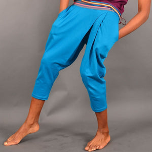 Iguacu Organic Cotton Blue Wrap Yoga Capris by Prancing Leopard