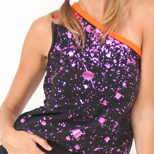 Kahurangi One Shoulder Printed Yoga Top with Star Pattern by Prancing Leopard