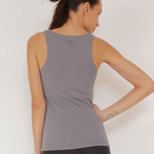 Neuchatel Fitness Top with integrated shelf bra in moisture-wicking Zeugma® organic cotton by Prancing Leopard