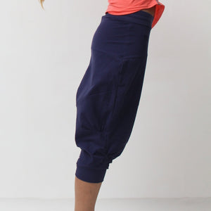 Pasha Organic Cotton Harem Yoga Pants in Navy by Prancing Leopard