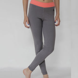 Xingu, Prancing Leopard Organic cotton yoga, workout, Pilates Leggings, grey with coral - front