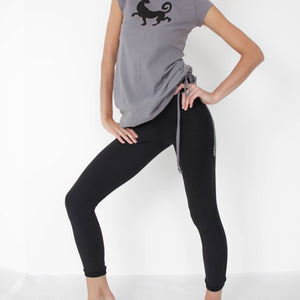 Xingu, Prancing Leopard Organic cotton yoga pants, workout, Pilates Leggings, black- front