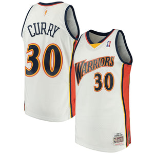 Steph Curry Warriors White Throwback Jersey
