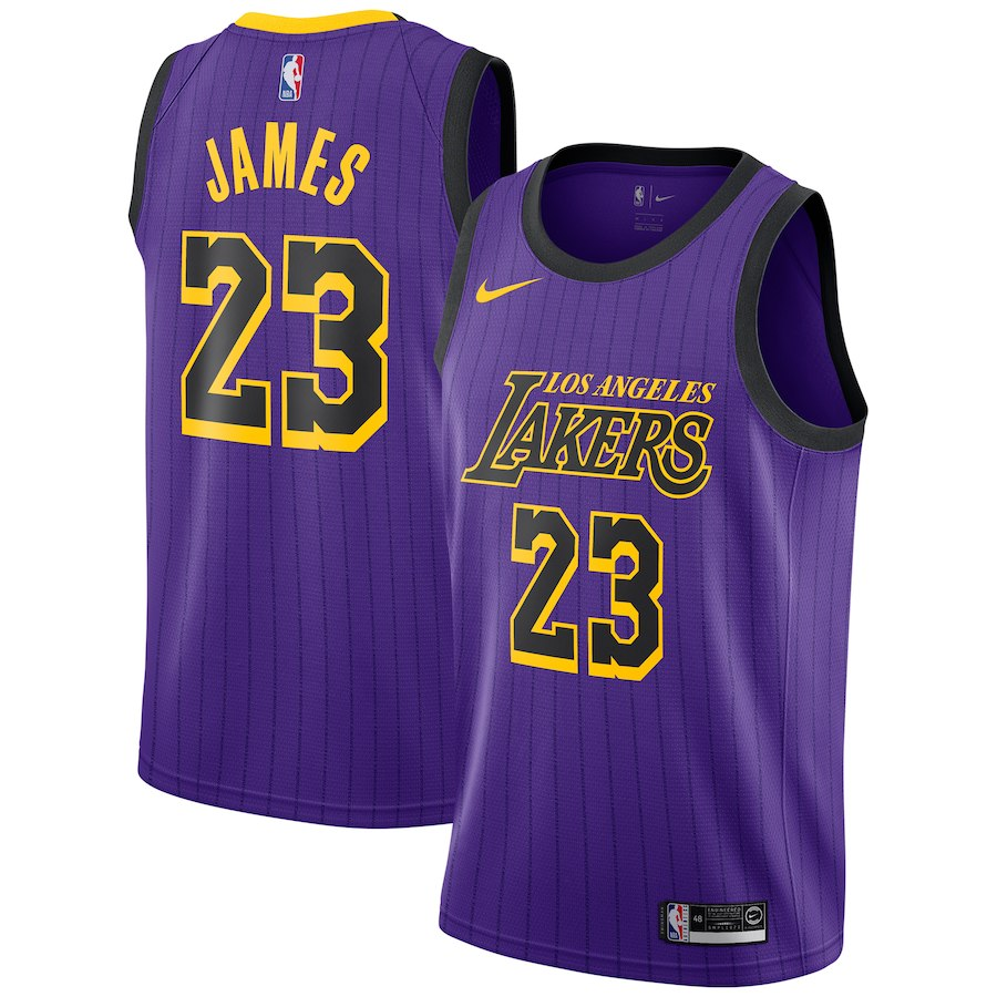 LeBron James Lakers Striped Purple Jersey