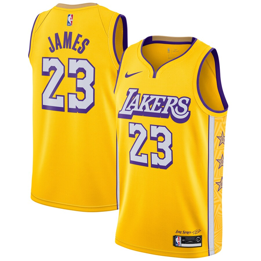 LeBron James Lakers Yellow Jersey