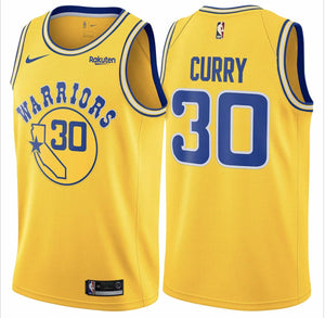 Steph Curry Warriors Yellow California Jersey