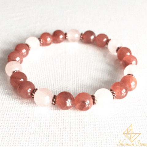 Bracelet tendresse en quartz rose