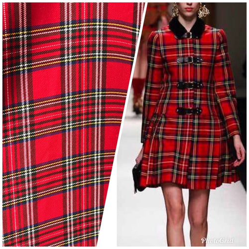 Close-Out Designer Red Plaid Tartan Woven Fabric- By the Yard - Fancy Styles Fabric Pierre Frey Lee Jofa
