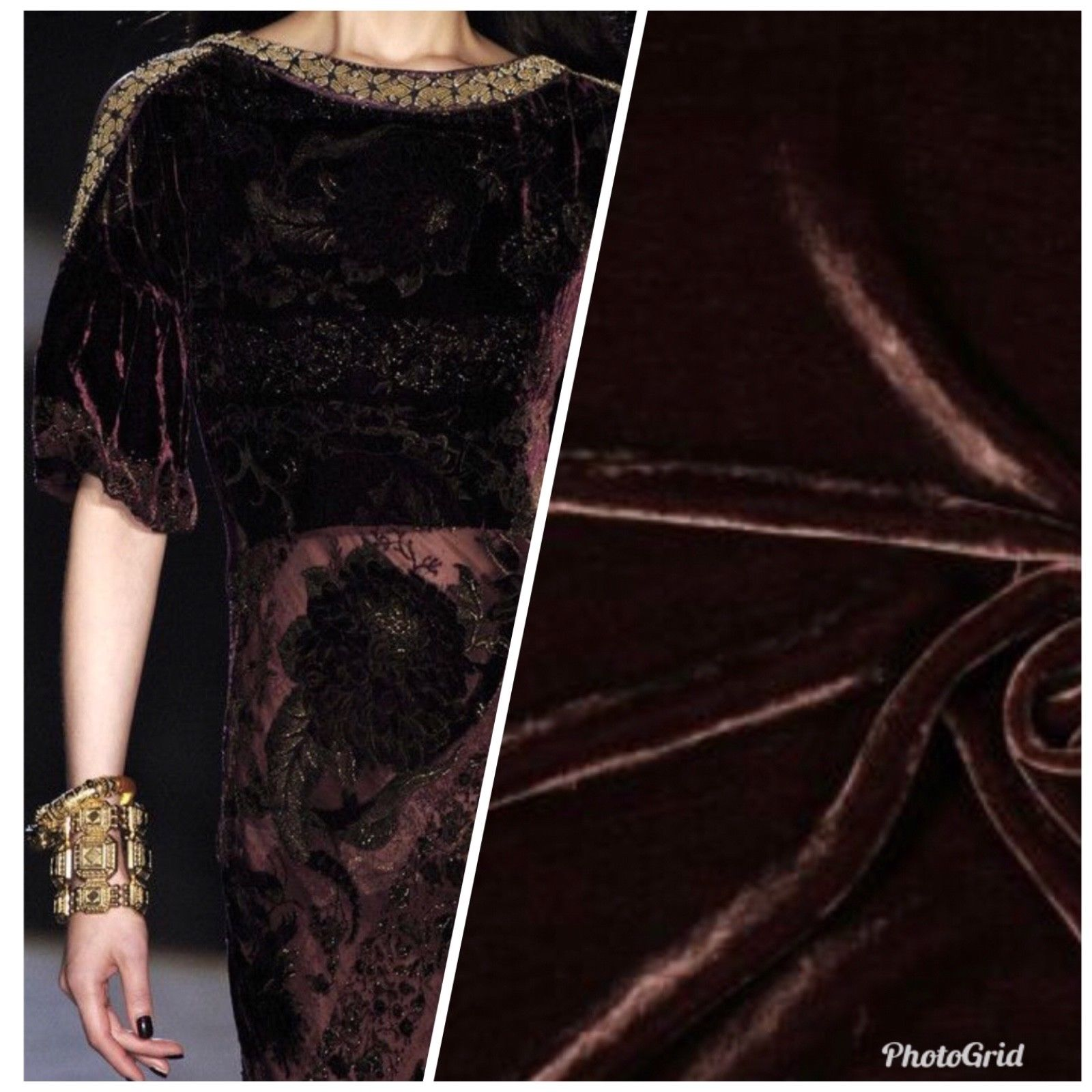 SALE! Designer Runway Chocolate Brown Silk Rayon Velvet Fabric By the yard - Fancy Styles Fabric Boutique