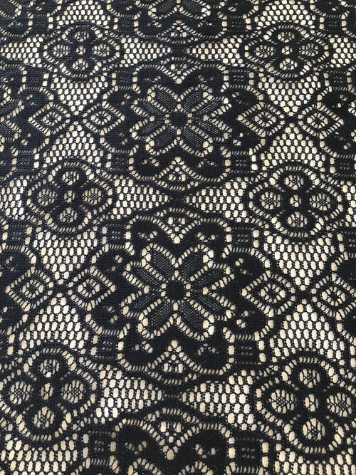 SALE! Designer Cotton Blend Crochet Lace Fabric By the yard- Black Color - Fancy Styles Fabric Boutique