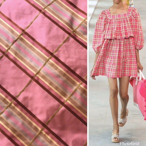 Lady Deborah Designer 100% Silk Taffeta Plaid Tartan Ribbon Fabric Pink