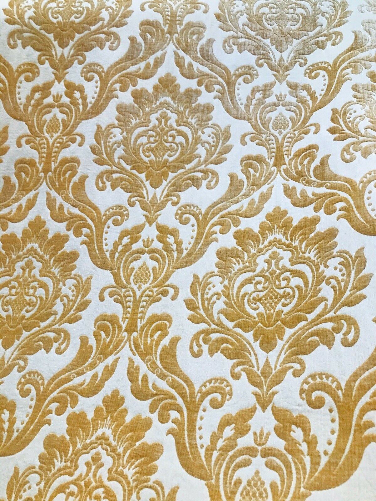 NEW! Designer Damask Burnout Chenille Velvet Fabric - Honey Gold BTY