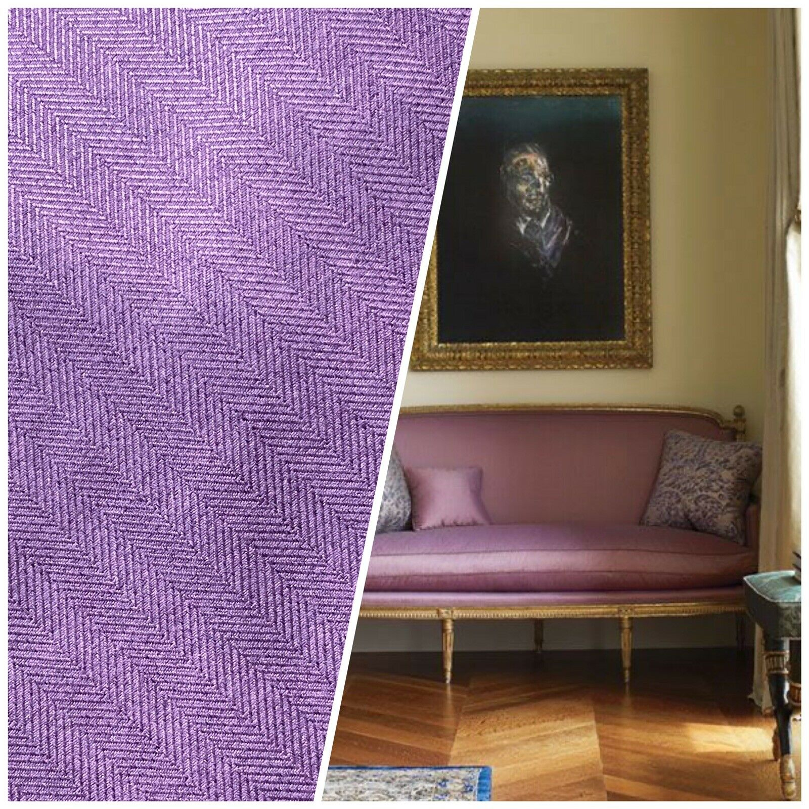 Duchess Eliana Designer Upholstery Herringbone Chevron Pattern Tweed Fabric -Lavender Purple