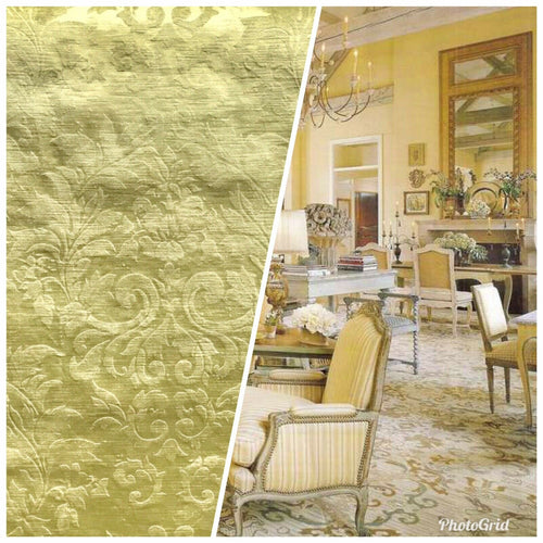 NEW Designer Burnout Embossed Damask Velvet Upholstery Fabric - Mustard Yellow - Fancy Styles Fabric Pierre Frey Lee Jofa Brunschwig & Fils