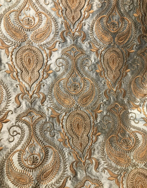 NEW Novelty 100% Silk Taffeta Embroidered Fabric Made In India- Silver & Copper BTY