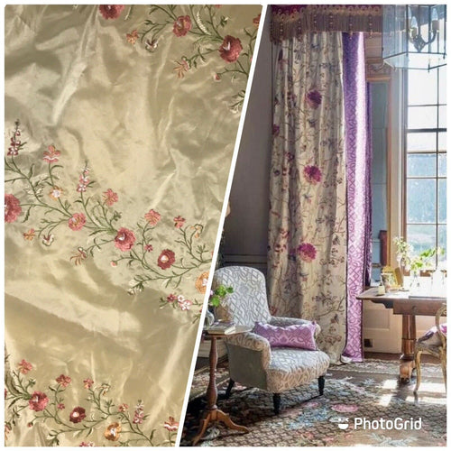 NEW! Designer 100% Silk Dupioni Embroidery Floral Fabric- Beige