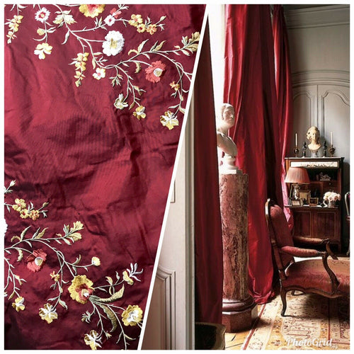 NEW! 100% Silk Dupioni Embroidered Floral Rows Fabric- Dark Red Iridescent