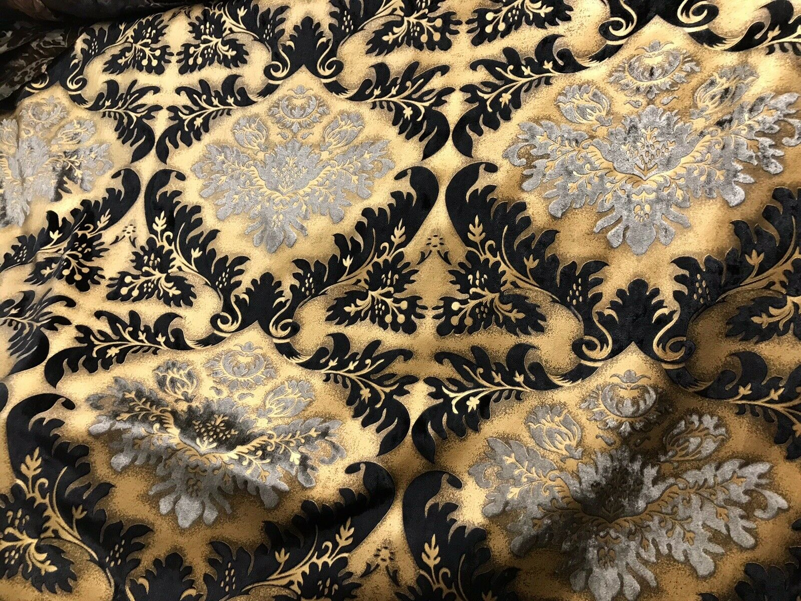 Queen Kathryn Designer Burnout Damask Cut Velvet Fabric Metallic Gold & Black Drapery