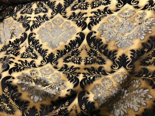 Designer Burnout Damask Cut Velvet Fabric Metallic Gold & Black Drapery