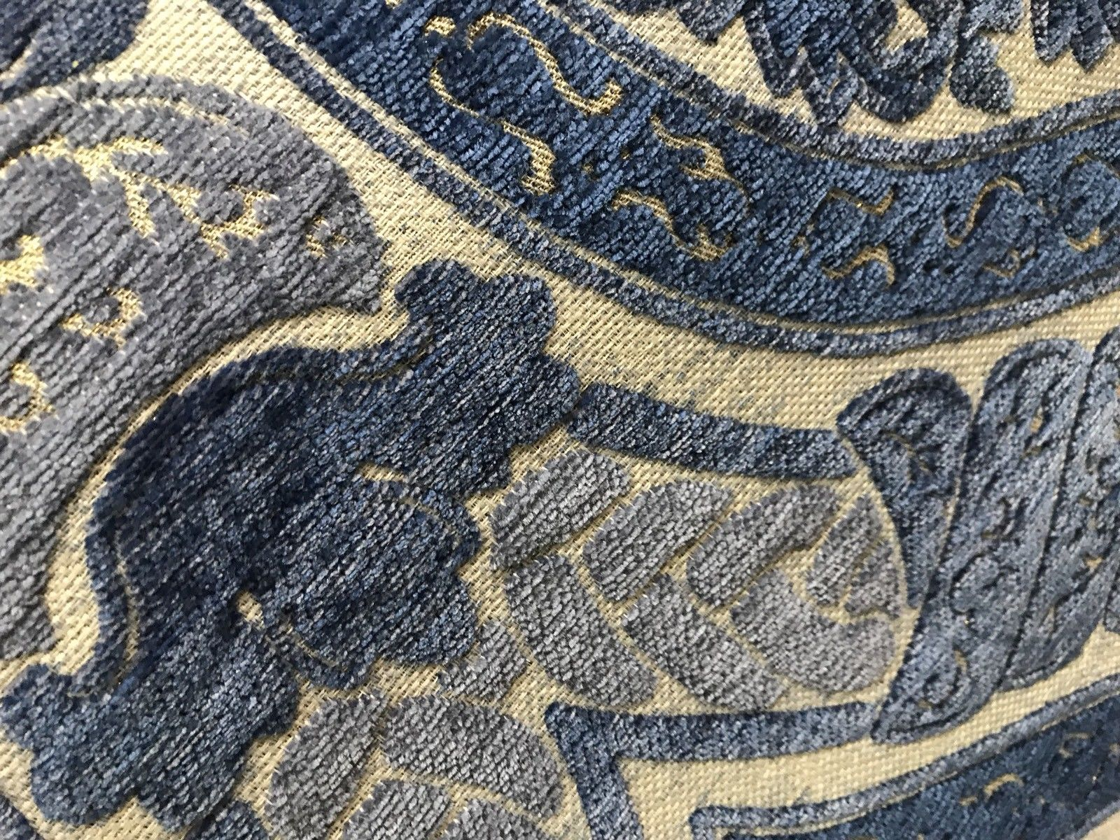 SWATCH Double Sided Burnout Chenille Velvet Fabric- Blue Upholstery Damask - Fancy Styles Fabric Boutique