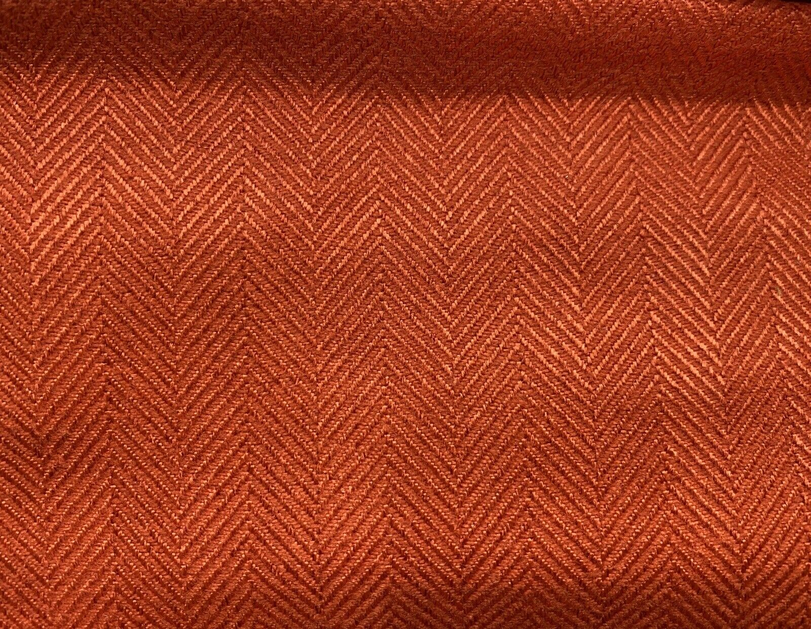 NEW Upholstery Herringbone Chevron Pattern Tweed Fabric -Rust Red