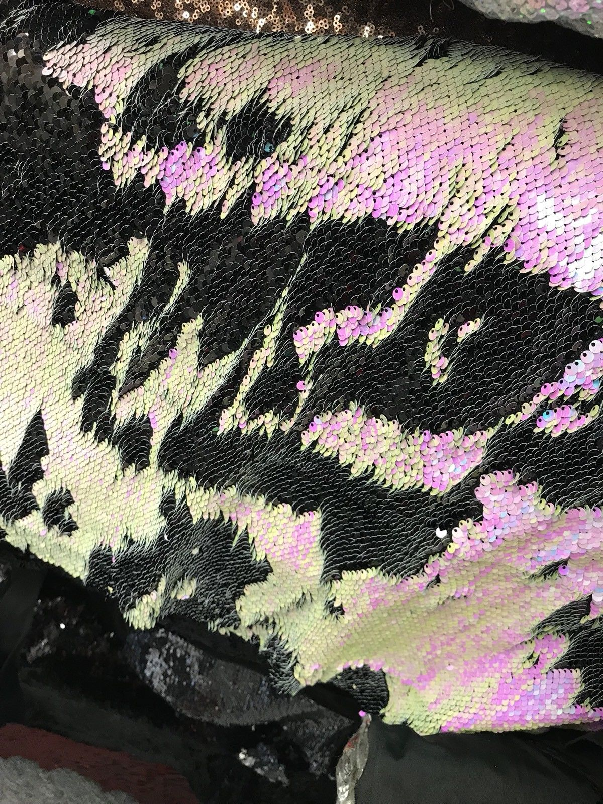 Designer Distressed Pink Zebra Sequin Fabric- Chunky- Regular $68 Per Yard - Fancy Styles Fabric Pierre Frey Lee Jofa