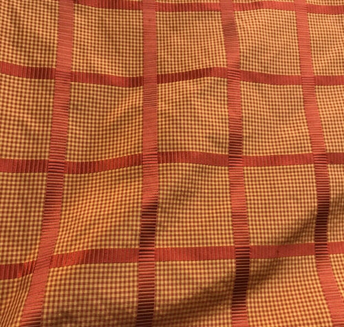 NEW! Miss Jaqueline Designer 100% Silk Taffeta Gingham Ribbon Stripes Plaid Fabric -Red Gold