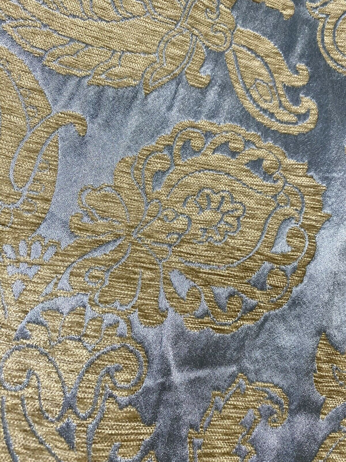 NEW Designer Floral Burnout Chenille Velvet Satin Fabric - Blue And Gold BTY