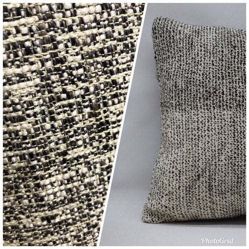 NEW Designer Upholstery Heavyweight Nubby Tweed Fabric- Black Gray White