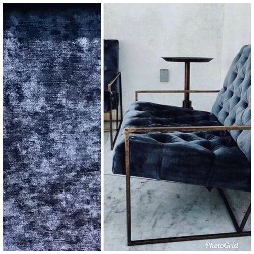 SWATCH : Designer Antique Inspired Velvet Fabric - Navy Blue - Upholstery - Fancy Styles Fabric Boutique