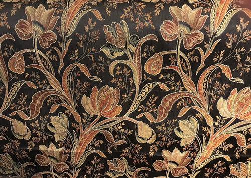 SWATCH Designer Brocade Satin Fabric- Black Floral - Damask- Upholstery - Fancy Styles Fabric Boutique
