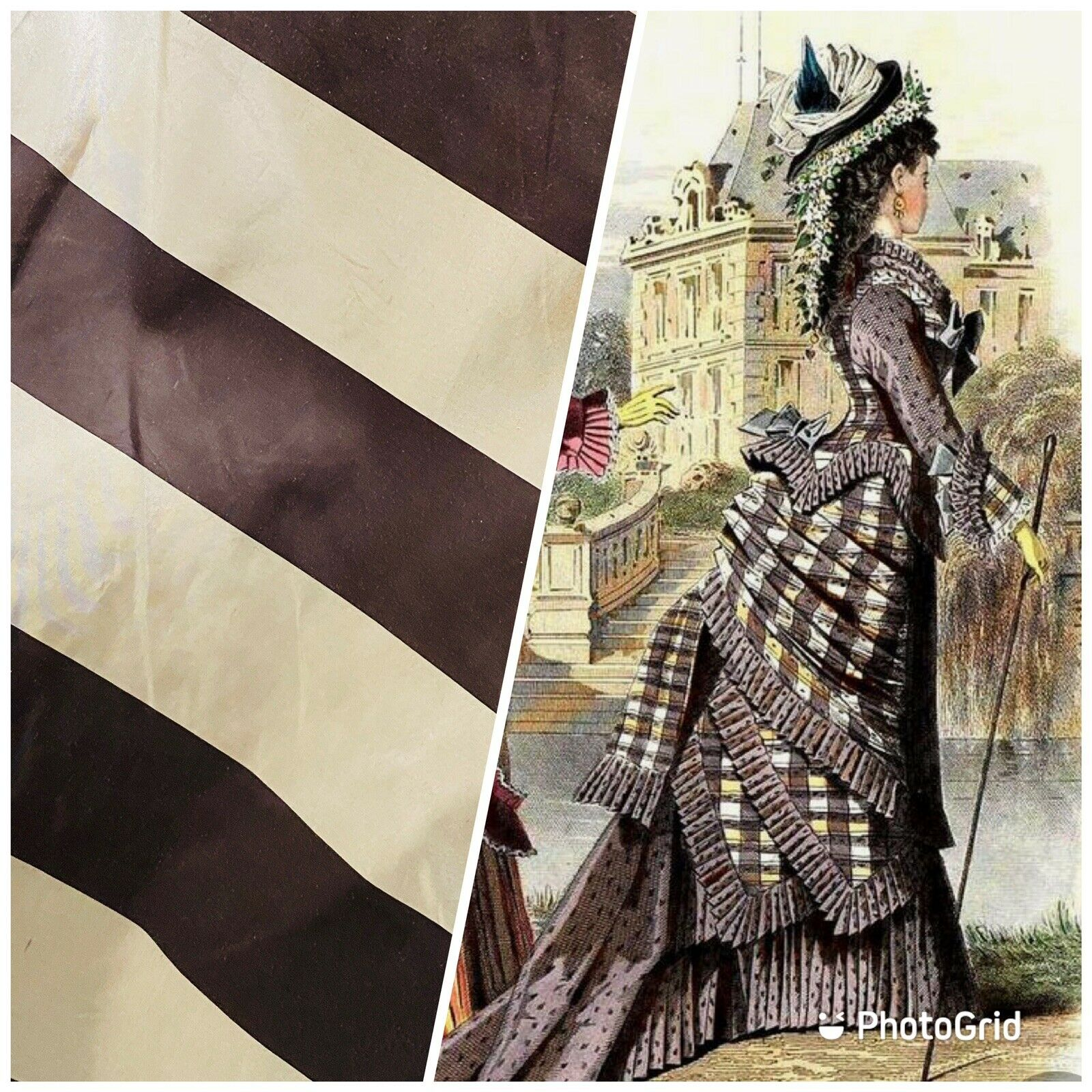 NEW 100% Silk Taffeta Brown & Cream Striped Fabric