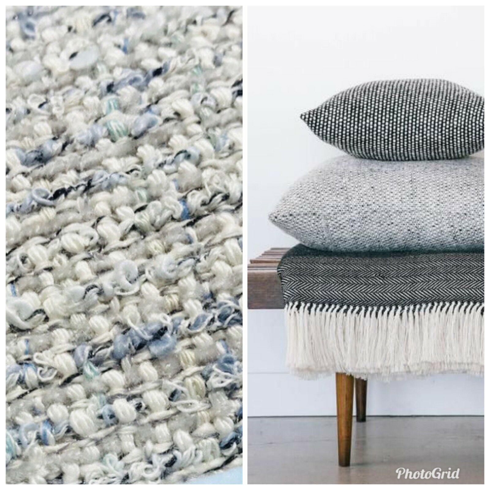 Designer Upholstery Heavyweight Tweed Fabric- Light Blue- Pillow, BTY, Sample - Fancy Styles Fabric Pierre Frey Lee Jofa Brunschwig & Fils
