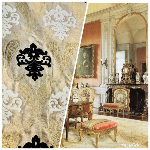 Designer Brocade Fabric- Antique Cream, Gold, Black- Damask Interior Design - Fancy Styles Fabric Pierre Frey Lee Jofa