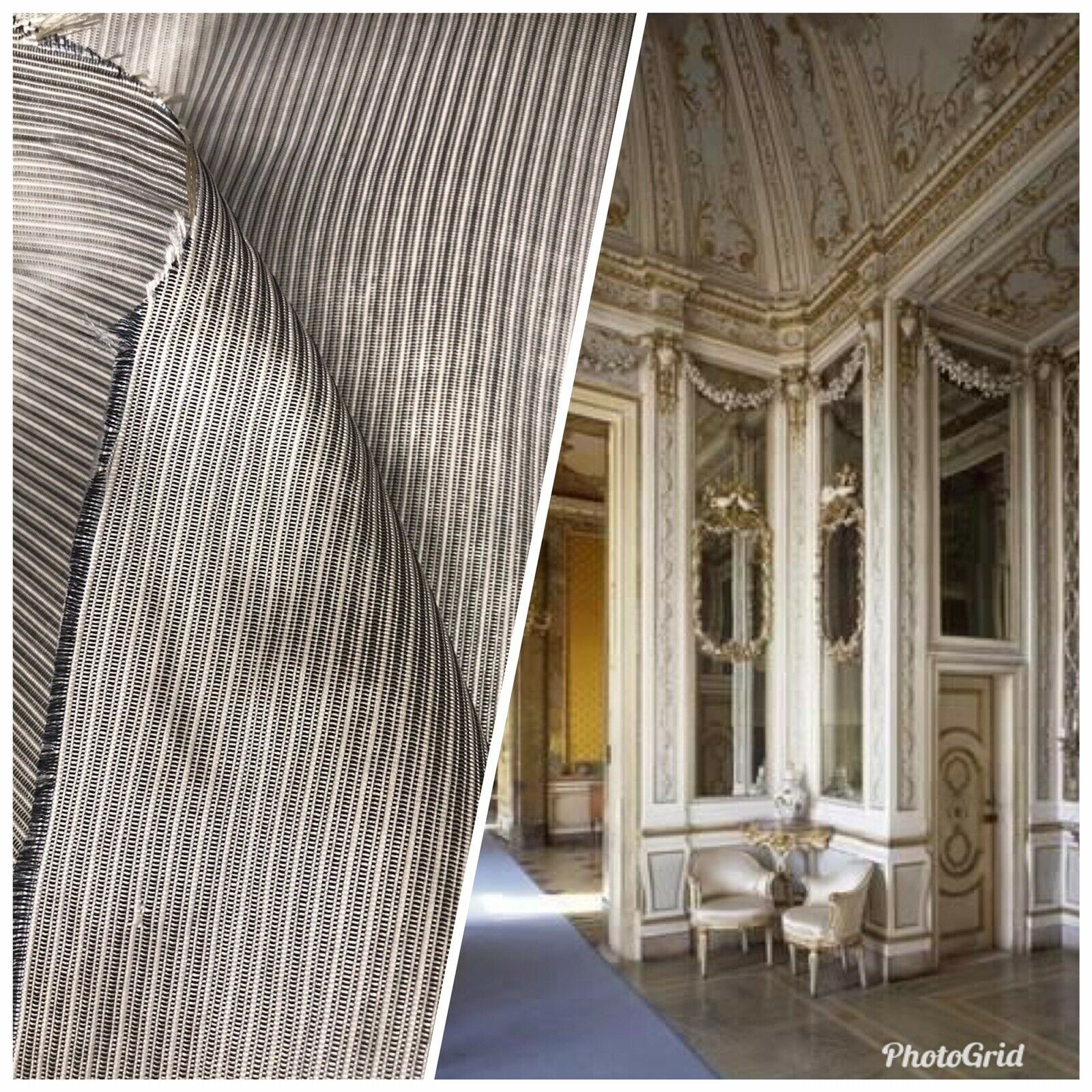 SALE! Designer 100% Silk Dupioni Grey White Pinstripe Stripe Fabric Drapery